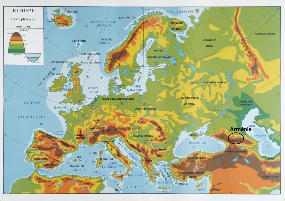 carte du relief en Europe arménie